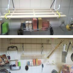 キッチンパネル/DIY/コンロ専用パネル/インテリア/デザイン/パネル/... シンク前にスノコ棚を取り付けました。  …