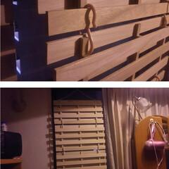 キッチンパネル/コンロ/アイカ/アイランド型キッチン/対面キッチン/パネル/... すのこ目隠し。①  この時季、就寝時、窓…