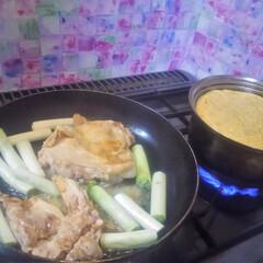コンロ専用パネル/おうちごはん/ごはん ~ 鳥ももの照り焼きと、たまご汁 。~ …