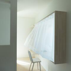出窓/デスク/ワークテーブル/造り付け/スタディールーム/書斎/... 【cotoiro】出窓型のデスク 外に半…