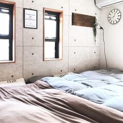 無印/寝室/DIY/インテリア/家具/無印良品/... こんにちは! 昨日も猿騒動があり、寝室の…