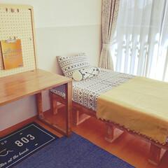 すのこベッド/机DIY/子供部屋インテリア/子供部屋/ニトリ購入品/新生活/... 子供部屋です。 カーテン、ラグ、ベッドカ…