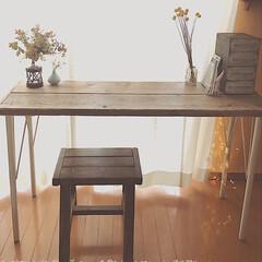 ウッドプロ/スツールDIY/カフェテーブル/ドライフラワーのある暮らし/テーブルDIY/木工DIY/... 昨年diyした足場板テーブルの脚の色を少…(2枚目)