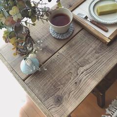 ウッドプロ/スツールDIY/カフェテーブル/ドライフラワーのある暮らし/テーブルDIY/木工DIY/... 昨年diyした足場板テーブルの脚の色を少…(5枚目)