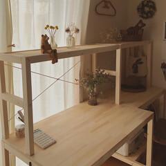 ドライフラワー/室内干し/机DIY/棚DIY/ワークスペース/DIY/... ワークデスクを作りました😊 今回はデスク…(1枚目)
