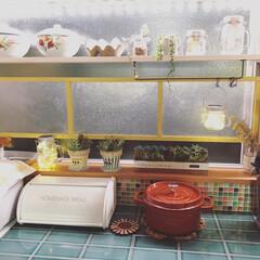 タイル貼り/リサラーソン/手作りマスク/KEYUCA/アロマ/ソーラーライト/... キッチンカウンター周りのテープライトやソ…