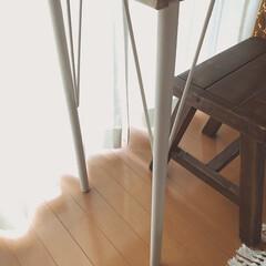 ウッドプロ/スツールDIY/カフェテーブル/ドライフラワーのある暮らし/テーブルDIY/木工DIY/... 昨年diyした足場板テーブルの脚の色を少…(6枚目)