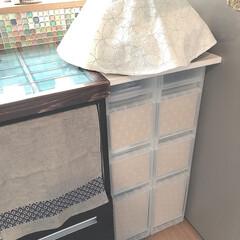 ダイソー/無印良品の収納/ラッピングペーパー/100均DIY/収納/キッチン収納/... 無印良品の収納ボックスに100均のラッピ…