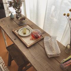 ウッドプロ/スツールDIY/カフェテーブル/ドライフラワーのある暮らし/テーブルDIY/木工DIY/... 昨年diyした足場板テーブルの脚の色を少…(1枚目)
