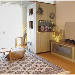 リビング/ナチュラルインテリア/雑貨屋さん風/ディアウォール/間仕切り壁DIY/テレビボードDIY/... 先日テレビボードと間仕切り壁をdiyしま…