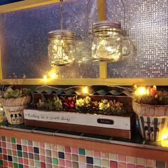 トタン屋根/ナチュラル雑貨/レトロ/タイルシート/窓枠DIY/手作り鉢/... toiroさんから多肉植物の寄せ植えと手…