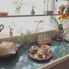 いいねありがとうございます♡/カインズスキット/カインズkumimoku/おうちカフェ/お花のある暮らし/キッチン収納/... おうちカフェ𖥧𖥧◡̈𖠚ᐝ(3枚目)