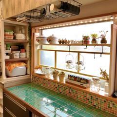 食器棚DIY/カフェ風/レトロ/toiroさん多肉植物/多肉植物/吊り戸棚収納/... 古いニトリの食器棚カウンターの天板をリメ…