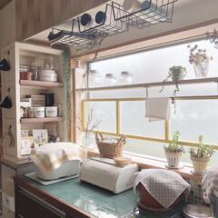ソーラライト/いなざうるす屋さん/セラコアタイル/タイル張り/窓枠DIY/棚DIY/... 以前リメイクやDIYしたキッチンカウンタ…