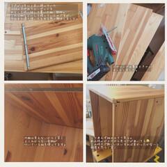 見て下さりありがとうございます♡/木工/DIY/端材DIY/廃材DIY/サイドテーブルDIY/... 父のベッドサイドテーブルを廃材で作りまし…(9枚目)