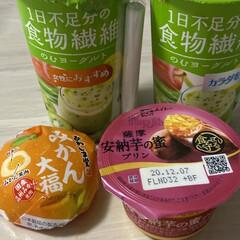 飲むヨーグルト/安納芋の蜜プリン/みかん大福/おやつ 今日のおやつ(*´∇`*)  やめられな…(1枚目)