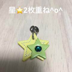 星⭐️/皮/令和元年フォト投稿キャンペーン/雑貨 星⭐️2枚重ねて 留めてもらいました(*…