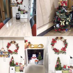 Xmasディスプレイ/クリスマス2019/リミアの冬暮らし/ダイソー/セリア/ハンドメイド リースにセリア、ダイソーの飾りに! 木の…