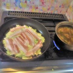 コンロ専用パネル/おうちごはん/キッチン大好き。/対面キッチン/アイランド型キッチン/プラスワンダー/... ~お好み焼き。~  この後すぐ、お好み焼…