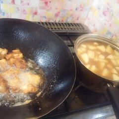 コンロ専用パネル/キッチン/キッチン大好き。/油跳ね防止パネル/対面キッチン/アイランド型キッチン/... ~北京鍋と唐揚げ。~  唐揚げは、買って…