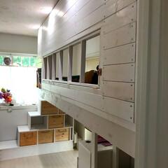 二段ベット/子ども部屋/ウッドデッキ/DIY/インテリア/ニトリ/... 子ども部屋に二段ベットを! IKEAやニ…