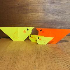 工作/図工/鳥/小学生/家族/子供/... 次女の作った折り紙。うちの家族らしいです。