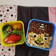 お弁当/節分/幼稚園 幼稚園最後の節分お弁当。 鬼が恐い娘に作…