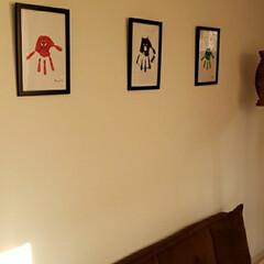 額縁アート/手形アート/インテリア/100均/ダイソー 主人の部屋にまたまたアート作品!?飾りま…