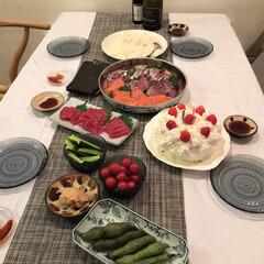 誕生日ごはん/カステヘルミ/チルウイッチ/ごはん 夫の誕生日ごはんは、美味しい魚屋さんで新…