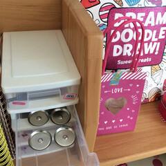子ども部屋/ダイソー/収納用品/学習机 缶バッジを作るときに使う材料は、100円…