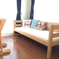 無印良品/二段ベッド/子ども部屋/子ども部屋インテリア 無印良品の二段ベッドを一段ずつに分けて、…