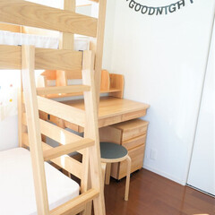 子ども部屋/二段ベッド/学習机/無印良品/アクタス 二段ベッドは無印良品、学習机はアクタスで…