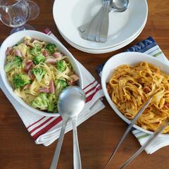 わたしのごはん/幸せわたしのごはん/イケア/北欧食器/エエヴァオーバル ある日のお昼ごはん。パスタを盛り付けてい…