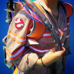 ハロウィン/ゴーストバスターズ/衣装/ハロウィン衣装/つなき つなぎに反射テープやワッペンを付けて衣装…