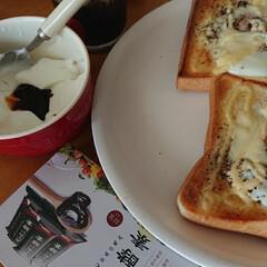 緑茶コーヒー/トースト/カスピ海ヨーグルト/あじわい酵素/フォロー大歓迎/LIMIAごはんクラブ/... 朝ごはん☕🍞🌄 卵チーズトースト 緑茶コ…