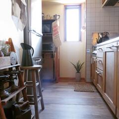 ヴィンテージ/アンティーク/古道具/フロアタイル/置くだけ/賃貸DIY/... 【キッチン床DIY】 リビングに引き続き…