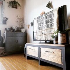 テレビボード/テレビ台/ペイント/塗装/リメイク/家具/... ナチュラル色のテレビボードを塗装で渋くチ…