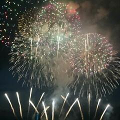 花火大会/新潟県/家族旅行 家族で初めての花火大会。 日本三大花火大…