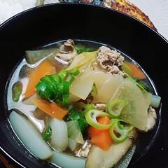ポカポカ/ネギたっぷり/野菜たっぷり/お鍋にたっぷり/staub/芋類入れ忘れ/... 今日は豚汁〜🐷  我が家の豚汁は、でっか…