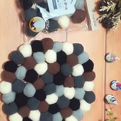 お裁縫/鍋敷き/デコレーションボール/DAISO/100均/これもDIY?(笑) DAISOのデコレーションボールを使って…