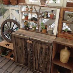 DIY/りんご箱/リメイク/多肉棚/車輪 我が家のウッドデッキです。りんご箱をリメ…