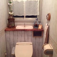 トイレ/タンクレストイレ/DIY/オシャレ/トイレのインテリア/突っ張り棒/... 突っ張り棒✖️カラーボード✖️リメイクシ…