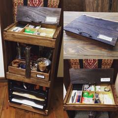 すのこ/リメイク/DIY/収納/文房具収納/ワゴン/... すのこと素麺箱などを使って文房具収納ワゴ…