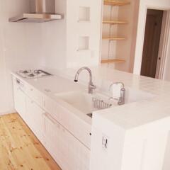 滋賀/滋賀県/収納棚/ニッチ収納/ニッチ/白いタイル/... 白いキッチン
