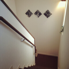 手作り/インテリア/一軒家/ミサワホーム/階段/マリメッコ/... 階段にはマリメッコの生地を使った、手作り…