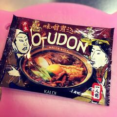 oudon/うどん/カルディ/kaldi/味噌煮込みおうどん KALDI のおうどん。 赤出汁でいい味…