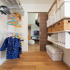 収納/収納スペース/収納部屋/収納アイデア/収納棚/マイホーム/... 『便利な収納スペース』  玄関とリビング…