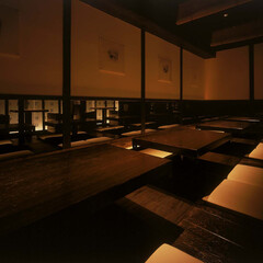和食 ダイニング ほりごたつ席 掘りごたつ席の壁面は雪見格子をモチーフと…(1枚目)