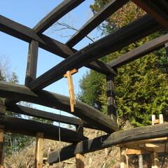 囲炉裏/太い梁/黒い柱 囲炉裏の煤で黒く光る梁や柱