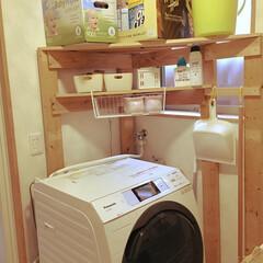 DIY/100均 洗濯機周りの棚を前回のを解体して作り替え…(1枚目)